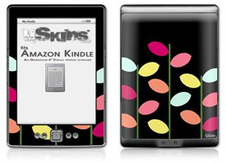 Plain Leaves On Black - Decal Style Skin (fits 4th Gen Kindle with 6inch display and no keyboard)