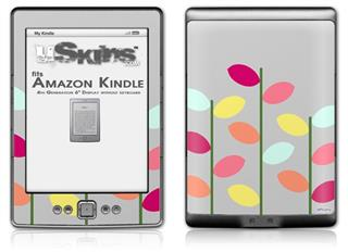 Plain Leaves On Gray - Decal Style Skin (fits 4th Gen Kindle with 6inch display and no keyboard)