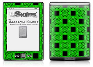 Criss Cross Green - Decal Style Skin (fits 4th Gen Kindle with 6inch display and no keyboard)