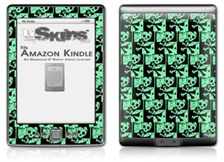 Skull Checker Green - Decal Style Skin (fits 4th Gen Kindle with 6inch display and no keyboard)