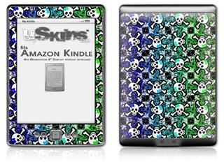 Splatter Girly Skull Rainbow - Decal Style Skin (fits 4th Gen Kindle with 6inch display and no keyboard)