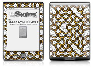 Locknodes 01 Orange - Decal Style Skin (fits 4th Gen Kindle with 6inch display and no keyboard)