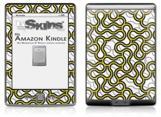 Locknodes 01 Yellow - Decal Style Skin (fits 4th Gen Kindle with 6inch display and no keyboard)