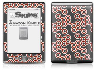 Locknodes 02 Red Dark - Decal Style Skin (fits 4th Gen Kindle with 6inch display and no keyboard)