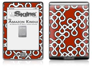 Locknodes 03 Red Dark - Decal Style Skin (fits 4th Gen Kindle with 6inch display and no keyboard)