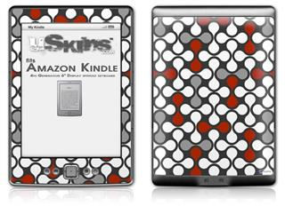 Locknodes 05 Red Dark - Decal Style Skin (fits 4th Gen Kindle with 6inch display and no keyboard)