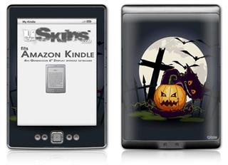 Halloween Jack O Lantern and Cemetery Kitty Cat - Decal Style Skin (fits 4th Gen Kindle with 6inch display and no keyboard)