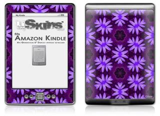 Abstract Floral Purple - Decal Style Skin (fits 4th Gen Kindle with 6inch display and no keyboard)