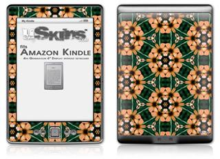 Floral Pattern Orange - Decal Style Skin (fits 4th Gen Kindle with 6inch display and no keyboard)
