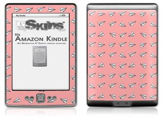 Paper Planes Pink - Decal Style Skin (fits 4th Gen Kindle with 6inch display and no keyboard)