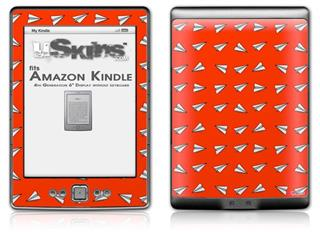 Paper Planes Red - Decal Style Skin (fits 4th Gen Kindle with 6inch display and no keyboard)