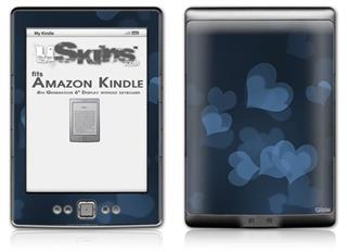 Bokeh Hearts Blue - Decal Style Skin (fits 4th Gen Kindle with 6inch display and no keyboard)