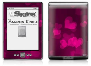 Bokeh Hearts Hot Pink - Decal Style Skin (fits 4th Gen Kindle with 6inch display and no keyboard)