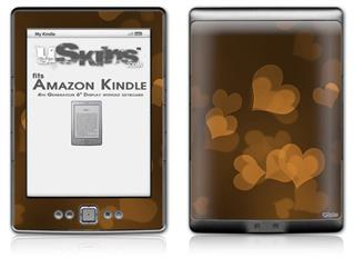 Bokeh Hearts Orange - Decal Style Skin (fits 4th Gen Kindle with 6inch display and no keyboard)