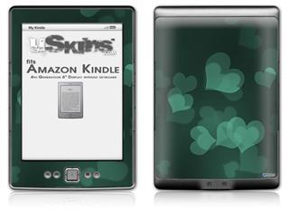 Bokeh Hearts Seafoam Green - Decal Style Skin (fits 4th Gen Kindle with 6inch display and no keyboard)