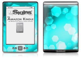 Bokeh Hex Neon Teal - Decal Style Skin (fits 4th Gen Kindle with 6inch display and no keyboard)