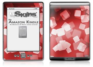 Bokeh Squared Red - Decal Style Skin (fits 4th Gen Kindle with 6inch display and no keyboard)