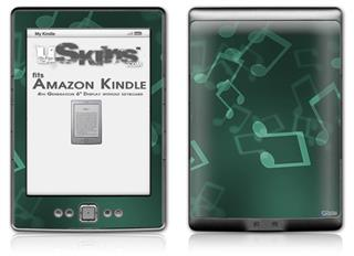 Bokeh Music Seafoam Green - Decal Style Skin (fits 4th Gen Kindle with 6inch display and no keyboard)