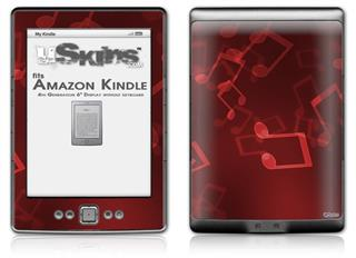 Bokeh Music Red - Decal Style Skin (fits 4th Gen Kindle with 6inch display and no keyboard)