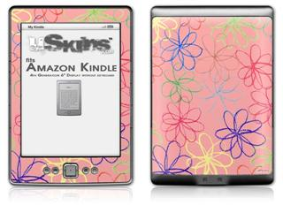 Kearas Flowers on Pink - Decal Style Skin (fits 4th Gen Kindle with 6inch display and no keyboard)