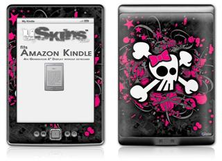 Girly Skull Bones - Decal Style Skin (fits 4th Gen Kindle with 6inch display and no keyboard)