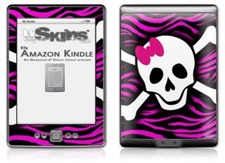 Pink Zebra Skull - Decal Style Skin (fits 4th Gen Kindle with 6inch display and no keyboard)