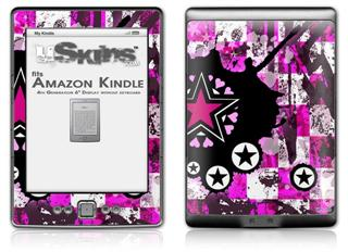 Pink Star Splatter - Decal Style Skin (fits 4th Gen Kindle with 6inch display and no keyboard)