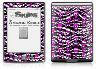 Zebra Pink Skulls - Decal Style Skin (fits 4th Gen Kindle with 6inch display and no keyboard)