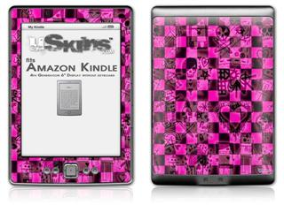 Pink Checkerboard Sketches - Decal Style Skin (fits 4th Gen Kindle with 6inch display and no keyboard)