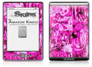 Pink Plaid Graffiti - Decal Style Skin (fits 4th Gen Kindle with 6inch display and no keyboard)