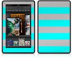 Amazon Kindle Fire (Original) Decal Style Skin - Psycho Stripes Neon Teal and Gray