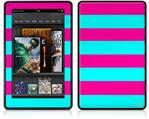 Amazon Kindle Fire (Original) Decal Style Skin - Psycho Stripes Neon Teal and Hot Pink