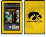 Amazon Kindle Fire (Original) Decal Style Skin - Iowa Hawkeyes Herkey Black on Gold