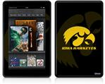 Amazon Kindle Fire (Original) Decal Style Skin - Iowa Hawkeyes Herkey Gold on Black