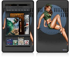 Amazon Kindle Fire (Original) Decal Style Skin - Bomber Pin Up Girl