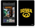 Amazon Kindle Fire (Original) Decal Style Skin - Iowa Hawkeyes Tigerhawk Oval 01 Gold on Black