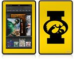 Amazon Kindle Fire (Original) Decal Style Skin - Iowa Hawkeyes Tigerhawk Oval 02 Black on Gold