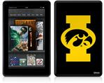 Amazon Kindle Fire (Original) Decal Style Skin - Iowa Hawkeyes Tigerhawk Oval 02 Gold on Black