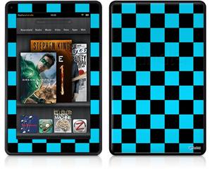 Amazon Kindle Fire (Original) Decal Style Skin - Checkers Blue