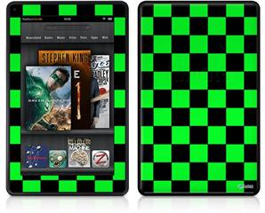 Amazon Kindle Fire (Original) Decal Style Skin - Checkers Green