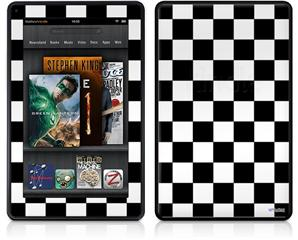 Amazon Kindle Fire (Original) Decal Style Skin - Checkers White