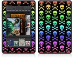 Amazon Kindle Fire (Original) Decal Style Skin - Skull and Crossbones Rainbow