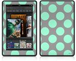 Amazon Kindle Fire (Original) Decal Style Skin - Kearas Polka Dots Mint And Gray
