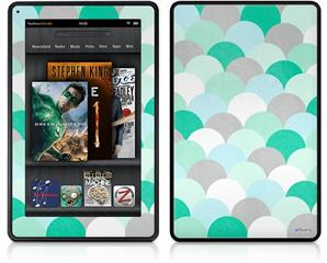 Amazon Kindle Fire (Original) Decal Style Skin - Brushed Circles Seafoam
