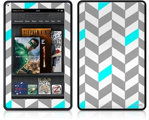 Amazon Kindle Fire (Original) Decal Style Skin - Chevrons Gray And Aqua