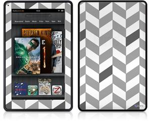 Amazon Kindle Fire (Original) Decal Style Skin - Chevrons Gray And Charcoal