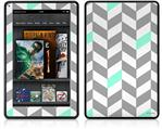 Amazon Kindle Fire (Original) Decal Style Skin - Chevrons Gray And Seafoam