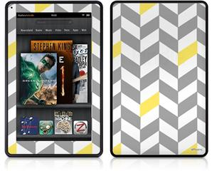 Amazon Kindle Fire (Original) Decal Style Skin - Chevrons Gray And Yellow