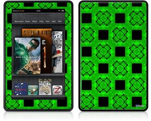 Amazon Kindle Fire (Original) Decal Style Skin - Criss Cross Green