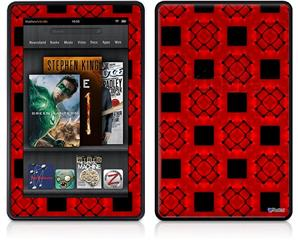 Amazon Kindle Fire (Original) Decal Style Skin - Criss Cross Red